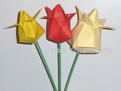 Как сделать бумажный тюльпан?