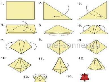 Как сделать из а4 бумаги тюльпан
