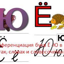 Дифференциация букв Ё -Ю в слогах, словах и словосочетаниях