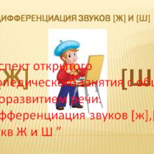 """Конспект открытого логопедического занятия с общем недоразвитием речи. «Дифференциация звуков [ж],[ш] и букв Ж и Ш """""""