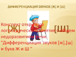 """Конспект открытого логопедического занятия с общем недоразвитием речи. """"Дифференциация звуков [ж],[ш] и букв Ж и Ш """""""