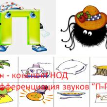 """План — конспект НОД  """"Дифференциация звуков """"П-Пь"""""""