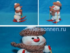 Как сделать елочную игрушку «Снеговик на лыжах» своими руками?
