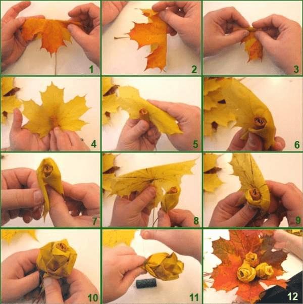 1Поделки из осенних листьев своими руками